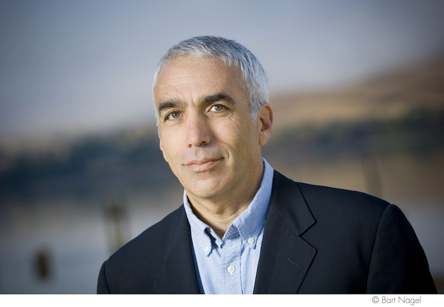 David Sheff portrait, middle age man, gray hair, suit coat and dress shirt, photo by Bart Nagel