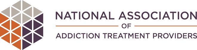 NAATP logo, hexagon of triangles, purple, orange and gray, National Association of Addiction Treatment Providers
