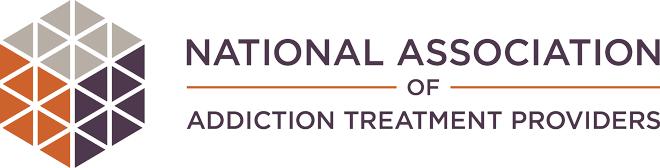 NAATP logo, hexagon of triangles, purple, orange and gray, National Association of Addiction Treatment Providers