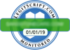 """LegitScript badge example, blue circle with green bar containing site url and white box with date """"LegitScript.com Monitored"""""""